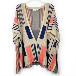 Umgee button front tan Aztec poncho cardigan